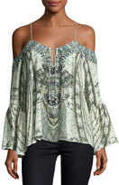 Camilla Embellished Cold-Shoulder Crepe Top, Divinity Dance