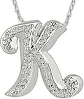 FINE JEWELRY 1/7 CT. T.W. Diamond Sterling Silver Initial K Pendant Necklace