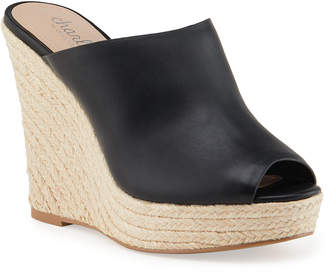 Charles by Charles David Andes Leather Wedge Espadrilles