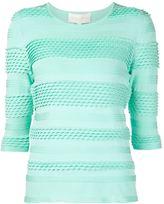 Christian Siriano striped knit top - women - Polyester/Spandex/Elastane - 10