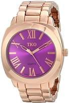 TKO ORLOGI Women's Big Purple Face Rose Gold Boyfriend Oversized Watch