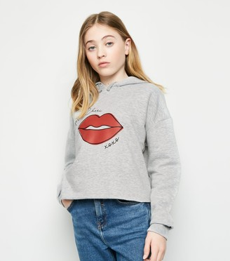 New Look Girls Mon Cheri Lips Print Hoodie