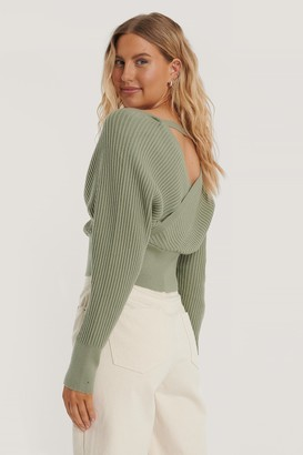NA-KD Overlap Knitted Wide Rib Sweater