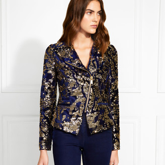 Rachel Zoe Everest Velvet Sequin Moto Jacket