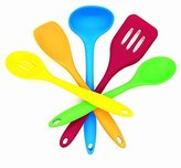 Artistic Vogue Silicone Spatula, Set of 5, Nonstick and Heat Resistant Includes Colorful Turner, Ladle, Server, Scraper and Slotted Spoon (Multi-color)