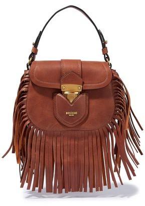 Moschino Hidden Lock Fringed Brushed-leather Shoulder Bag