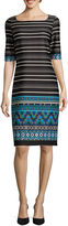 Tiana B Elbow-Sleeve Striped Border-Print Sheath Dress