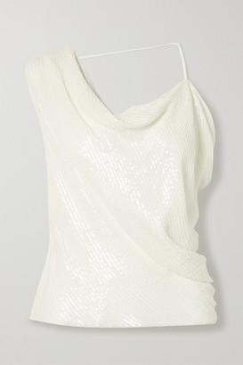 Cushnie Asymmetric Draped Sequined Silk-chiffon Top - White