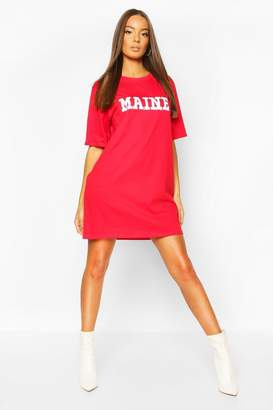 boohoo Maine Slogan Short Sleeve T-Shirt Dress