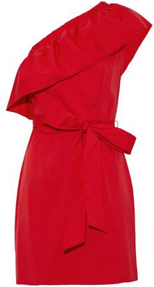 Milly Tara One-shoulder Ruffled Cotton-blend Poplin Mini Dress
