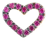 Finn Single Pave Open Heart Ruby Stud Earring
