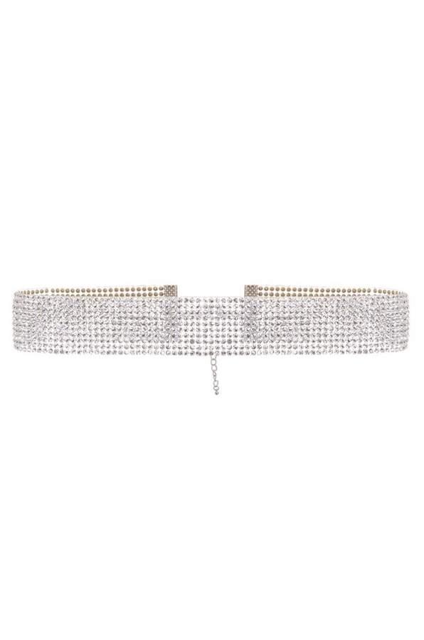 Quiz Silver Diamante Resin Choker