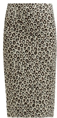 Givenchy Leopard-jacquard Pencil Skirt - Womens - Black Multi