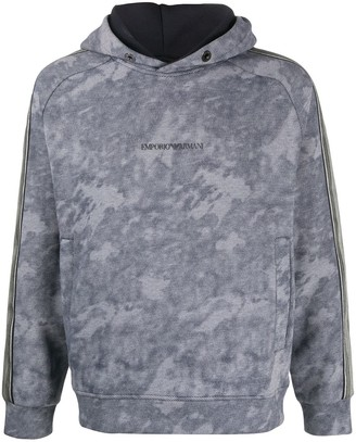 Emporio Armani Long Sleeve Bleached Effect Hoodie