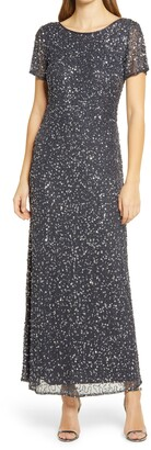 Pisarro Nights Short Sleeve Beaded Evening Dress