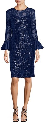 Teri Jon By Rickie Freeman Sequined Bell Sleeve Sheath Dress