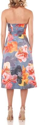 Kay Unger New York Lea Floral Mikado Strapless Midi Dress