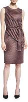 Diane von Furstenberg Ashlie Sleeveless Rickrack Stripe Silk Dress, Khaki/Orange/Midnight