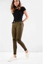 Glamorous Khaki Distressed Skinny Jeans with Raw Hem