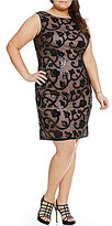 Adrianna Papell Plus Back V Sequin Mesh Sheath Dress
