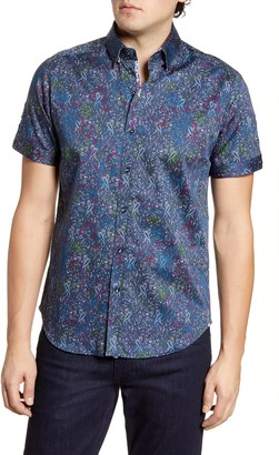 Robert Graham Payne Paisley Short Sleeve Button-Up Denim Shirt
