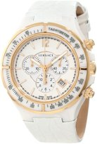 Versace Women's 28CCP1D001 S001 Dv One White Ceramic Case with Rose Gold IP Tachymeter Bezel White Dial Chronograph Date White Leather Watch