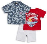 Nannette Boys 2-7 Little Boys Surf Sportshirt, Tee and Shorts Set