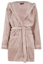 Joy Fluffy Satin Trim Hooded Dressing Gown