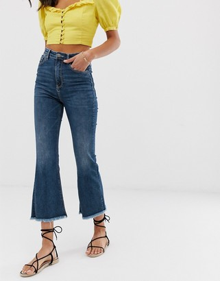 Stradivarius mid authentic cropped kickflare jeans in blue