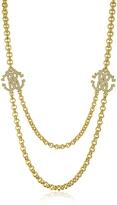 Roberto Cavalli RC Icon Golden Metal Pendant Necklace w/Crystals