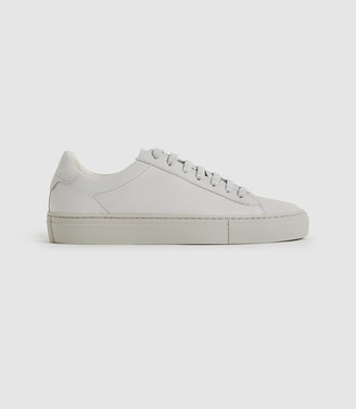 Reiss FINLEY LEATHER TRAINERS Taupe