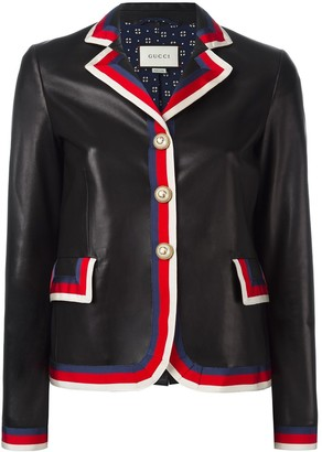 Gucci Sylvie web trim leather jacket