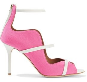 Malone Souliers Mika 85 Leather-trimmed Linen-canvas Sandals
