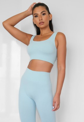 Missguided Blue Rib Seamless Sports Bra