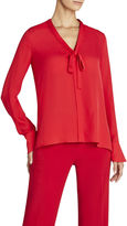BCBGMAXAZRIA Bellona Silk Blouse With Neck Tie