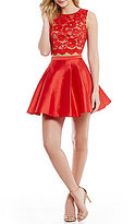 B. Darlin Embroidered Lace Illusion-Yoke Top To Satin Twill Skirt Two-Piece Party Dress