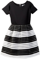 Blush by Us Angels Short Sleeve Scuba with Novelty Stripe Dress (Big Girls)