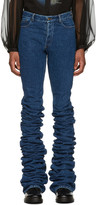 Y/Project Navy Extra Long Fold Jeans
