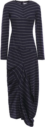 Chalayan Asymmetric Draped Striped Wool-jersey Dress