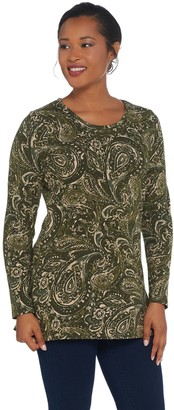 Denim & Co. Petite Perfect Jersey Long-Sleeve Printed Tunic