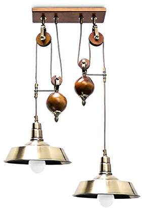Relaxdays Industrial Hanging Lamp Pendant Lamp with 2 Lights, Brass Look, Industrial Style Ceiling Light, Wood/Metal, Brown