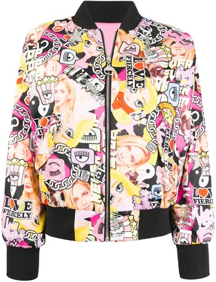 Chiara Ferragni reversible collage print bomber jacket