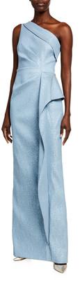 Rickie Freeman For Teri Jon One-Shoulder Draped-Skirt Column Gown