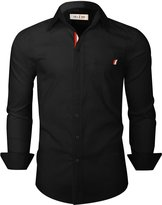 Tom's Ware Mens Trendy Slim Fit with Front Pocket Button Down Shirts TWNEL616A-NMS335S-BLACK