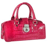 L.a.p.a. Hot Pink Croco-embossed Mini Doctor Style Bag