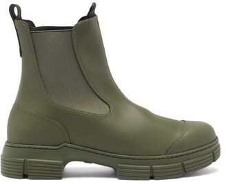 Ganni Chunky Recycled-rubber Chelsea Boots - Khaki