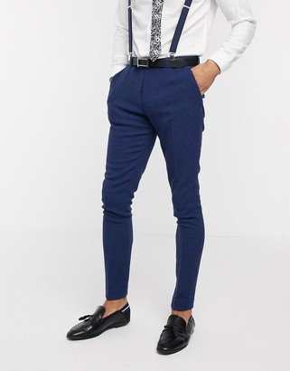 ASOS DESIGN wedding super skinny suit trousers in blue wool blend micro houndstooth