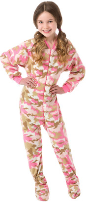 Big Feet Pjs Girls' Footies Pink - Pink Camo Fleece Footed Pajamas - Infant, Toddler & Girls