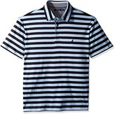 Nautica Men's Big and Tall Short Sleeve Stripe Premium Cotton Polo Shirt