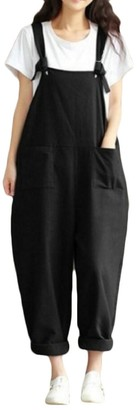 Fly Year Uk Fly Year-uk Women's Overalls Casual Harem Pants Wide Leg Low Crotch Loose Trousers Black M